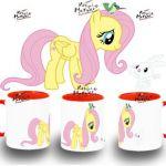 TAZA MY LITTLE PONY FLUTTERSHY Y ANGEL BUNNY colores mug tazza tasse coupe niño...