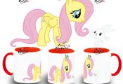 TAZA MY LITTLE PONY FLUTTERSHY Y ANGEL BUNNY colores mug tazza tasse coupe niño...