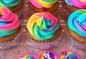 Tye Dye frosting- Rainbow- My Little Pony Birthday party- Strawberry Vanilla Cup...