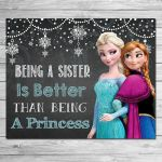 Frozen Being a Sister Sign Chalkboard Elsa // Frozen Printable Wall Art // Froze...