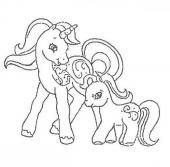 Mother and her baby pony coloring page – Coloring page – CHARACTERS coloring...