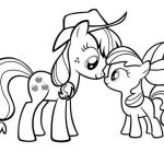 My Little Pony Applejack and Apple Bloom Coloring Page