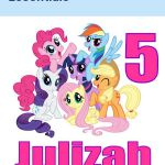 My Little Pony Personalized Iron On Transfer 5x5 for LIGHT Colored Fabric
