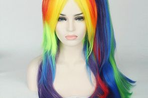 My Little Pony Rainbow Dash Multi Color Long Curly Cosplay Wigs Tail#Multi#Color...