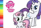 My Little Pony Rarity and Sweetie Belle coloring book page video Rarity coloring...
