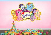 Personalised MY LITTLE PONY Inspired full colour Wall art Sticker NameMessage.