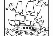 Thanksgiving Kindergarten Holidays Vehicles Worksheets: Mayflower Coloring Page