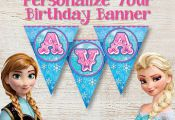 free frozen printable banner | PERSONALIZED Birthday Banner, Frozen Birthday Ban...