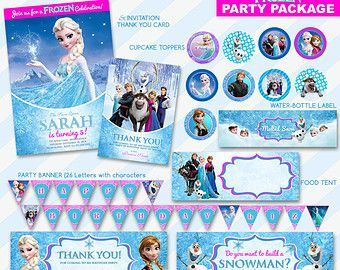 50-OFF-SALE-Frozen-Invitation-and-Thank-You-Card-Birthday-Party-Package-Printa 50% OFF SALE Frozen Invitation and Thank You Card Birthday Party Package ,Printa... Cartoon