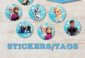 """7 Frozen 2.5"""" STICKERS / TAGS, Disney Frozen, Stickers, Frozen Confetti, Frozen ..."""