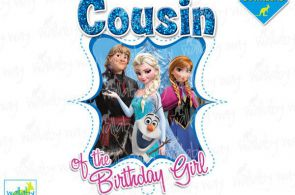 COUSIN of the Birthday Girl Frozen Printable Iron On Transfer or Use as Clip Art...