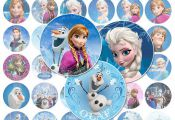 "Disney Frozen 45 - 2"" Circle Images - Printable Cupcake Toppers, Stickers, Craft..."