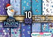 Disney Frozen OLAF Digital Paper Instant Download - Scrapbooking FROZEN Printabl...