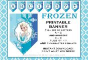 FROZEN Banner A to Z and Numbers Printable party decorations supplies elsa anna ...