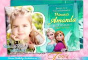 FROZEN Invitation, Frozen Birthday Invitation, Aqua Blue, Frozen Photo Invitatio...