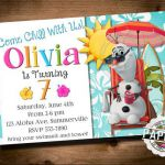 FROZEN SUMMER Printable Photo INVITATION, Custom Frozen Invitation, Luau Birthda...