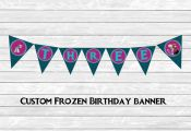 FROZEN printable birthday pendant banner, custom age, Anna, Olaf, Elsa, party ad...