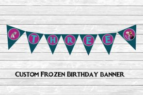 FROZEN printable birthday pendant banner, custom age, Anna, Olaf, Elsa, party ad...