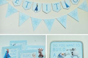 Free Frozen Party Printables set includes: Let It Go Banner, Happy Birthday Bann...