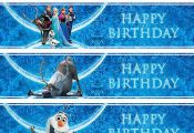 Free Printable Disney Frozen Birthday Party Water Bottle Wrappers & by VintageDS