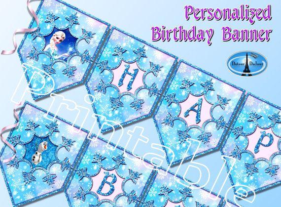 Frozen Banner. Frozen Birthday Banner.. Printable Frozen Banner. Personalized Fr… Wallpaper