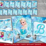 Frozen Birthday Banner - INSTANT DOWNLOAD - Disney Frozen Printable - Frozen Els...