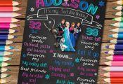 Frozen Birthday Chalkboard. Frozen Birthday Sign. Frozen Chalkboard Poster. Froz...