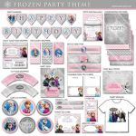 Frozen Birthday Party Package | Pink Grey Chevron | Printable | Invitation Avail...