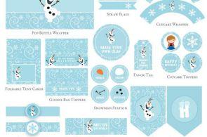 Frozen Birthday Printable Set, Olaf birthday Party decorations, Olaf Party print...