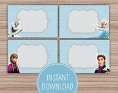 Frozen Birthday Themed Childrens Party - Food Labels