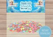 Frozen Birthday Themed Childrens Party - Party Bag Toppers - Organized - Food Te...