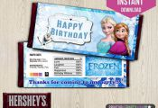 Frozen Candy Bar Wrappers  Disney Frozen por printablepartynow, $1.99
