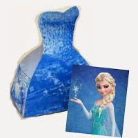 Frozen-Elsa-Free-Printable-Dress-Shaped-Box Frozen: Elsa Free Printable Dress Shaped Box. Cartoon