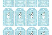 Frozen Favor Tags, Thank You Party Tags, Loot Bag Tags, Frozen Birthday Printabl...