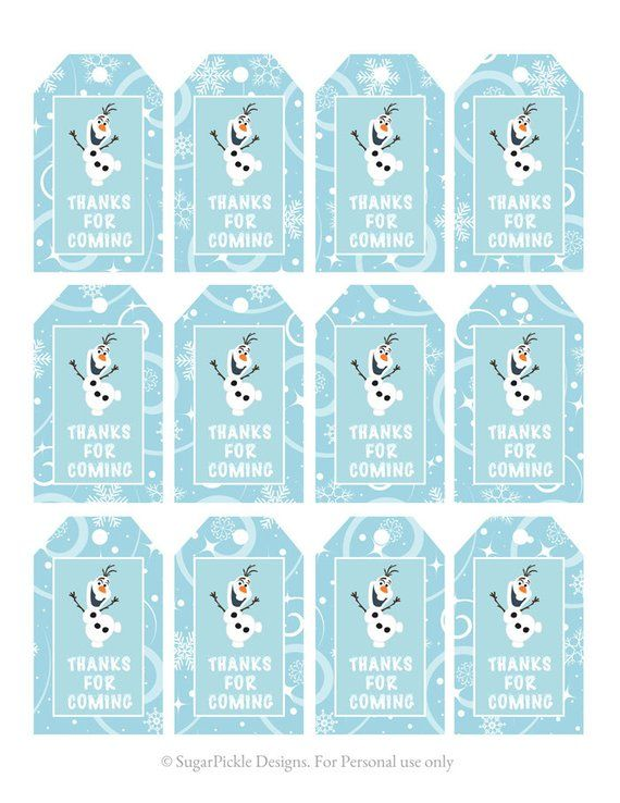 Frozen-Favor-Tags-Thank-You-Party-Tags-Loot-Bag-Tags-Frozen-Birthday-Printabl Frozen Favor Tags, Thank You Party Tags, Loot Bag Tags, Frozen Birthday Printabl... Cartoon