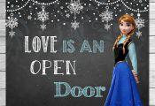 Frozen Love is an Open Door Sign Chalkboard Anna // Frozen Printable Wall Art //...