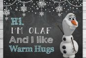 Frozen Olaf I Like Warm Hugs Sign Chalkboard Olaf // Frozen Printable Wall Art /...