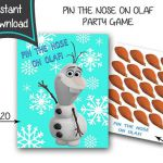 Frozen Pin the Nose On Olaf -Frozen printables - digital file