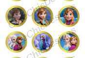 "Frozen Printables 2"" Circle for Ballons, Cupcakes, Hats, Favors, Toppers, Sticke"