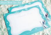 Frozen Thank You Notes for Frozen Birthday Party. Instant Download Frozen Printa...