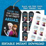 Frozen Thank You Tags, Frozen Favor Tags, Disney Frozen Party, Frozen Theme Part...