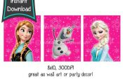 Hot Pink FROZEN printables set of 3 8x10 printables by CupcakeTops