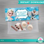 INSTANT DOWNLOAD Frozen bag topper build a snowman