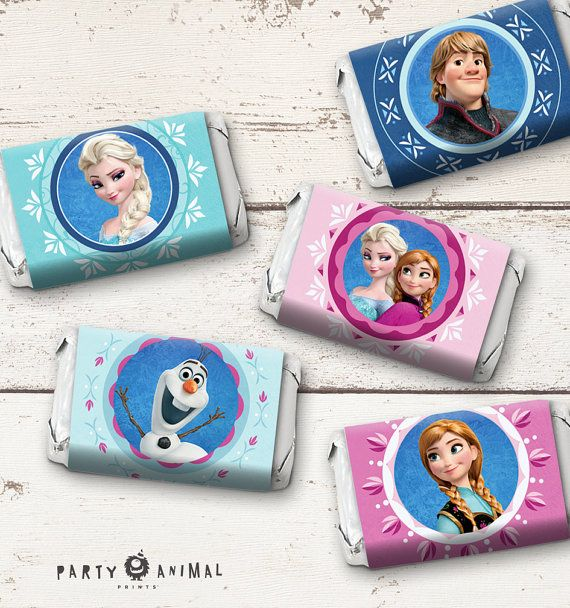 Instant-Download-Disney-Frozen-Mini-Candy-Bar-Label-featuring-Elsa-Anna-Olaf Disney Frozen Mini Candy Bar Wrappers  Frozen by PartyAnimalPrints Cartoon