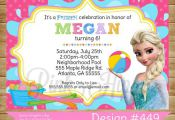 Pool Party Elsa:449- DIY Printable Invitation-FREE Thank You Card Included on Et...