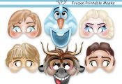 Unique Frozen Printable Masks,party masks,birthday,decoration,invitation,Anna,Ol...