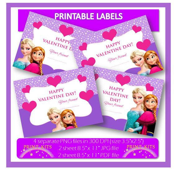 Valentine39s-Day-Frozen-Printable-Tags.-Instant-Download Valentine's Day Frozen Printable Tags. Instant Download. Cartoon