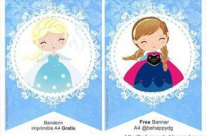 banderin frozen, decoración frozen, kit imprimible frozen, Printable Birthday B...