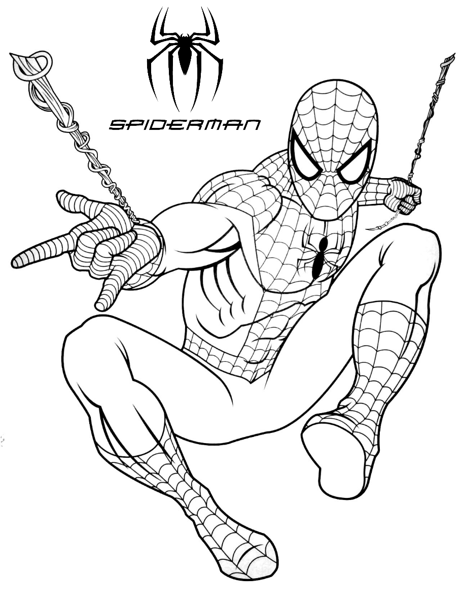 Spiderman web shooting coloring pages for kids Wallpaper
