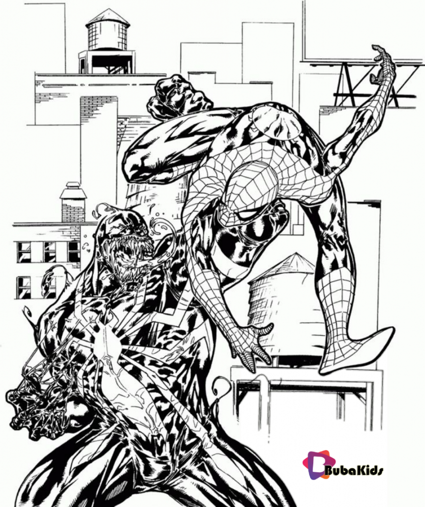 spiderman-vs-venom-coloring-pages-bubakids-859x1024 spiderman vs venom printable coloring pages Cartoon